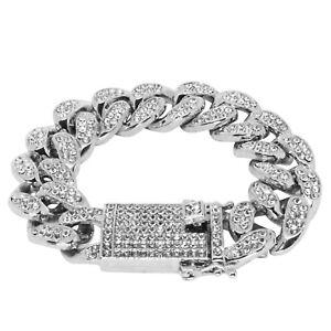Iced Cuban Link Out VVS Diamond Bracelet 20mm 18K White Gold Plated Rapper New