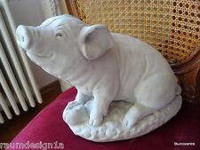 Stucco - Gartenfigur großes Schweinchen aus Beton 150-505B sehr süß Schwein