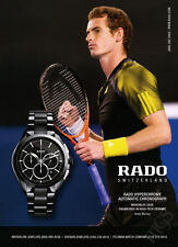 Andy Murray 1-pg clipping 2013 ad for Rado watches
