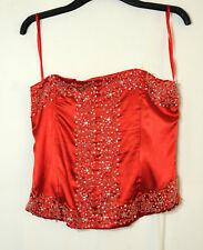 RED LADIES PARTY CORSET TOP BLOUSE SIZE 16 ANONYMOUS BEDED SATIN SEQUINS PARTY