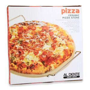 D.Line Ceramic Pizza Stone Al Dente - 33Cm White With Rack