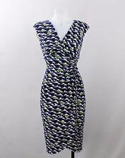 Maggy London Navy Blue & White Sleeveless Wrap Dress Shoulder Pad Elastic Size 2
