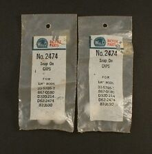 """WALD No. 2474 Snap On Caps for 1/4"""" rod New Old Stock 2 Packages"""