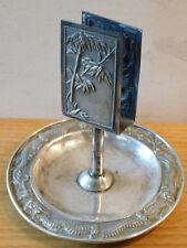 vintage CENDRIER métal argenté MATCH HOLDER porte-allumette ASHTRAY aschenbecher