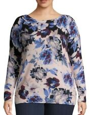 Lord & Taylor Plus Size 3x Floral Cashmere Sweater L2a