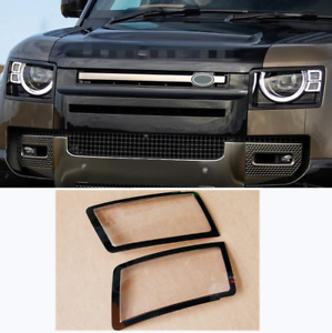 For Land Rover Defender 20-2022 black Headlight protection frame lamp cover 2x