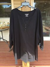 NWT Catherines Easy Fit Tees Collection Ladies Tee 4X 3/4 Sleeve 95 Cotton Black