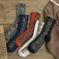 Fashion Retro Women Cotton Socks Harajuku Flowers Autumn Winter Warm Soft Socks