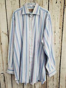 BF Men's Size 16 41/87cm 34.5 Thomas Pink Striped Button Down Dress Shirt GUC!