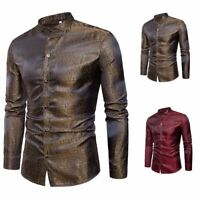 Fashion Men's Shirt Slim Fit Long Sleeve Casual Button T-Shirt Formal Top Blouse