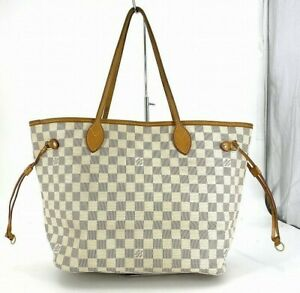 Louis Vuitton Damier Azur Tote Bag N51107 Neverfull MM Whites From JP #DX181-858
