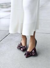 Zara AW17 Faux Patent Court Shoes With Bows Size 6 EUR 36 NWT
