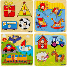 Baby Toddler Intelligence Development Animal Wooden Brick Puzzle Toy Classic SW