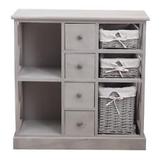 Mobili Rebecca Cupboard 4 Drawers 3 Baskets 2 Shelves Grey Shabby 69x69x30