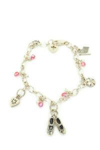 "Sterling Silver 925 Pearl Pink Crystal Heart Love Shoes Link Charm Bracelet 8"""