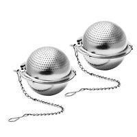 2pcs Stainless Steel Loose Mesh Ball Tea Leaf Strainer Infuser Herb Spice Filter
