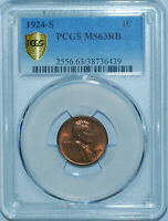 1924 S PCGS MS63RB Red and Brown Lincoln Cent