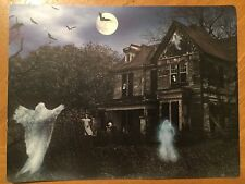 Tin Sign Vintage Halloween Haunted House Ghosts