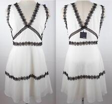 New sz Large SANDRO white chiffon dress black lace $375