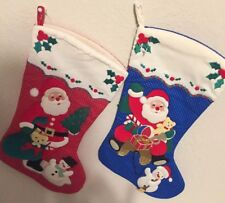 "Christmas 15"" Pair Stocking -Santa Claus With Snow Men And Toys Vintage Tree"