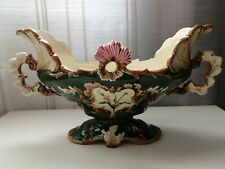 """Antique Large French Old Marked Signed Majolica Jardiniere Planter 15"""""""