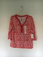 NWT ST JOHN'S BAY Women's Red  Pale Orange Floral Long-Sleeve Top Blouse SIZE M
