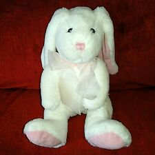 "Commonwealth 10"" Purple Bunny Rabbit Pink Nylon Bow Soft Plush 2007 Pink Nose"