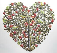 "Painted Heart Tree Haitian Recycled Steel Metal Drum Wall Art 22"" h x 23""w"