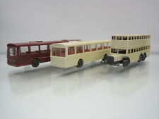 Wiking H0 Lot of 3 Mercedes/Doppeldecker Bus 1/160 Scale Plastic Good Condition