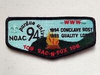 SAC-N-FOX OA LODGE 108 SCOUT SERVICE PATCH FLAP NOAC 1994 DELEGATE PURDUE BLACK