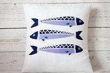 """Fish Trio - 16"""" cushion cover nautical/coastal shabby vintage chic"""