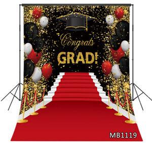5x7ft Graduation Carpet Gold Confetti Balloons Vinyl Backdrop Photo Background