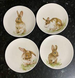 "Pottery Barn Pasture Bunny 8"" Salad Plates Set of 4 Easter Rabbits"