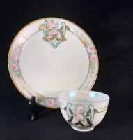 Antique Art Deco Design Fine Bone China Delicate White Teacup & Plate Roses