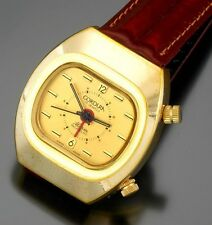 Cordura 17 Jewel Yellow Rolled Gold Plated Alarm Watch Vintage 1970s