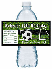 20 SOCCER FOOTBALL BIRTHDAY PARTY FAVORS WATER BOTTLE LABELS ~ waterproof ink
