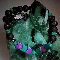 Sacred Arrow Hematite Lava HANDMADE ANXIETY Bracelet Healing Aromatherapy Unisex