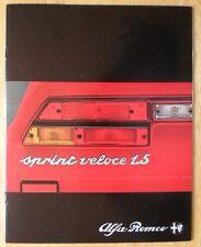 ALFA ROMEO ALFASUD SPRINT 1.5 VELOCE 1981 UK Mkt Prestige Sales Brochure