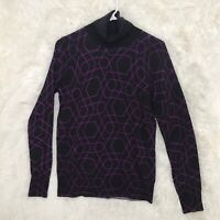 Womens J.Crew 100% Merino Wool Turtleneck Sweater Medium Black Purple Geometric