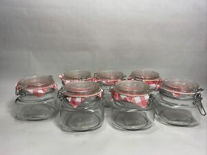 Set Of 7 World Market Clear Glass Metal Clamp Storage Jars 16.5 oz