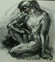 Rudolf Rothe Kniender weiblicher Akt Tusche Zeichnung Monogramm Nachlass