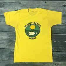 Vintage PLANET OCEAN Miami Florida Yellow T-shirt 1980's Polyester Cotton Medium
