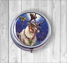 CHRISTMAS MESSENGER PILL BOX ROUND METAL -hmt5Z