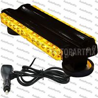 13 in 72W LED Amber Roof Light Construction Warning Strobe Flash Bar Magnetic