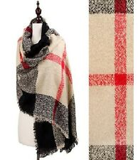 Beige and Multi Colored Plaid Oversize Fashion Scarf