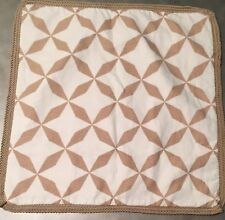 "Pottery Barn Pillow Cover Folly Gold White Geo Jute 22"" Square Cotton Linen NEW"