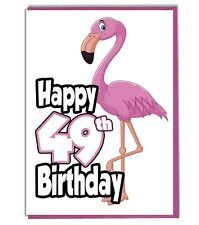 Pink Flamingo 49th Birthday Card - Ladies - Daughter - Grandaughter - Friend