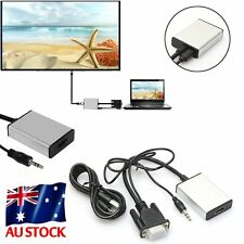 1080P VGA to HDMI + USB Audio Video Cable Adapter Converter Laptop PC DVD HD TV.