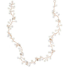 Lux Accessories Rose Gold Tone Faux Pearl Bridal Birds Breath Wire Hair Vine