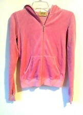 JUICY COUTURE ZIP UP VELOUR HOODIE FITTED DARK PINK WITH POCKETS SIZE M